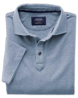 Poloshirt in Marineblau und Weiß mit Pfauenaugenmuster