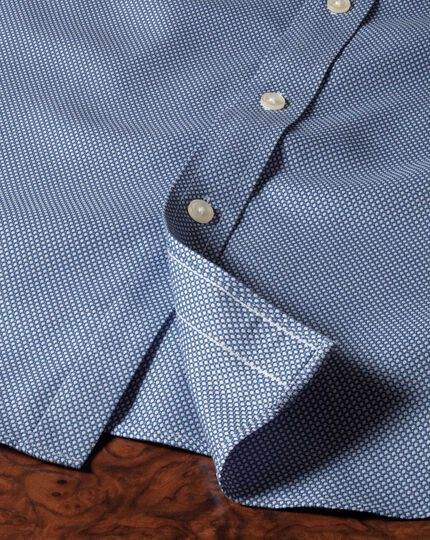 Extra slim fit non-iron honeycomb mid blue shirt