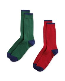 Red and green cotton rich ribbed 2 pack socks