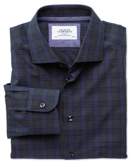 Slim fit semi-spread collar business casual melange navy and green check shirt