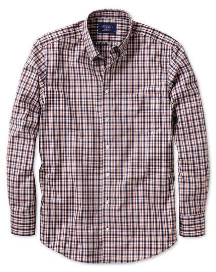 Extra Slim Fit Non Iron Poplin Blue And Orange Check Shirt