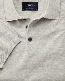 Silver blue heather short sleeve polo collar jumper