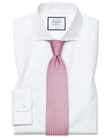 Super slim fit cutaway non-iron poplin white shirt