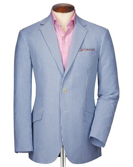Slim Fit Seersucker-Sakko in Blau und Weiß mit Streifen