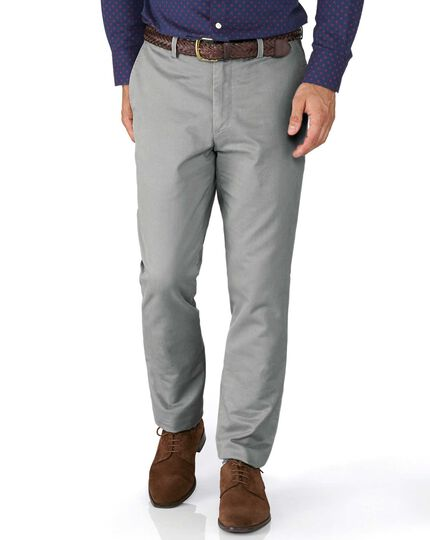 Silver grey extra slim fit flat front chinos
