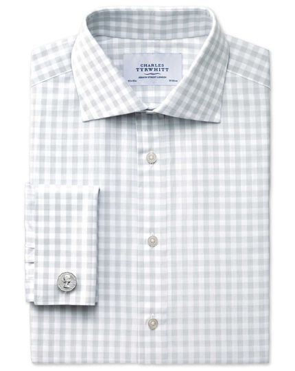 Classic fit semi-spread collar textured gingham grey shirt