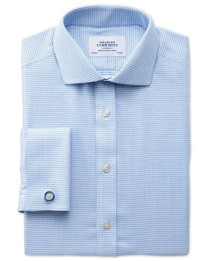 Extra slim fit spread collar non-iron square textured mid blue shirt