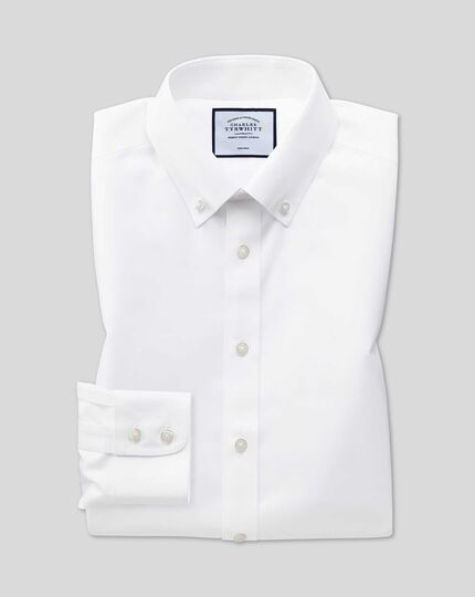 Extra slim fit button down collar non-iron twill white shirt