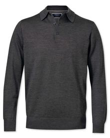 Charcoal merino wool polo neck sweater