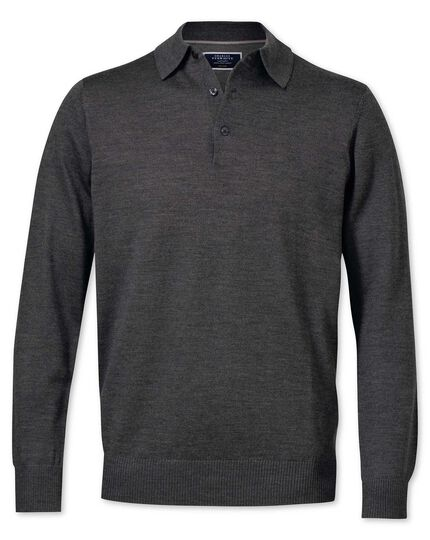 Charcoal merino wool polo neck jumper