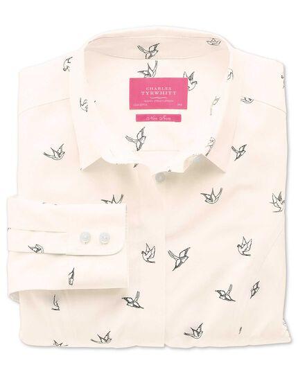 Women's semi-fitted non-iron light pink swallow print shirt