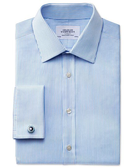 Extra slim fit raised stripe sky blue shirt