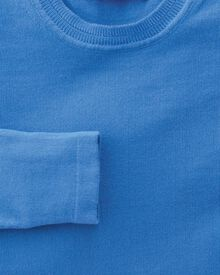 Women's blue cotton cashmere crew neck knit sweater