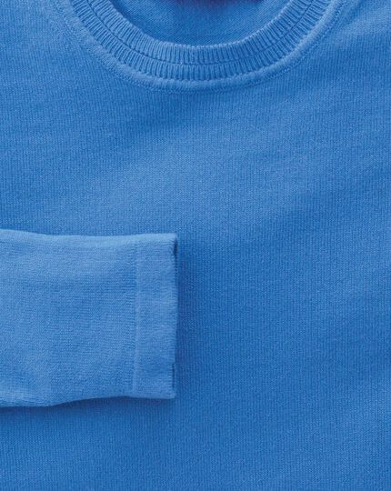 Women's blue cotton cashmere crew neck knit jumper