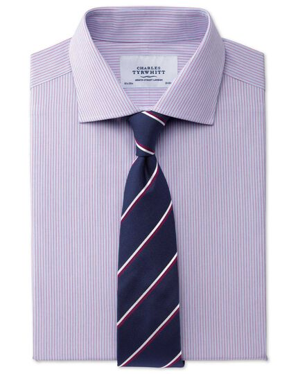 Navy and wine silk classic double striped tie