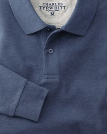 Slim fit Indigo pique long sleeve polo shirt