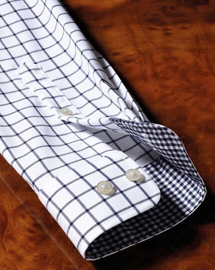 Bügelfreies Slim Fit Oxfordhemd in MarineBlau mit Windowpane-Karo