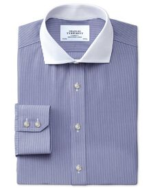 Slim fit spread collar non-iron bengal stripe navy Winchester shirt