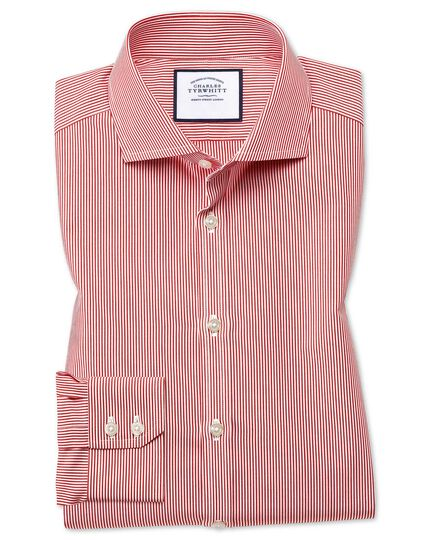 Extra slim fit spread collar non-iron bengal stripe red shirt