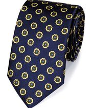 Navy and gold silk printed classic tie