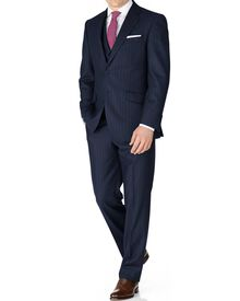 Navy stripe classic fit saxony business suit