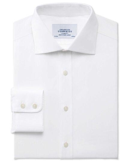 Extra slim fit semi-spread collar stretch white shirt