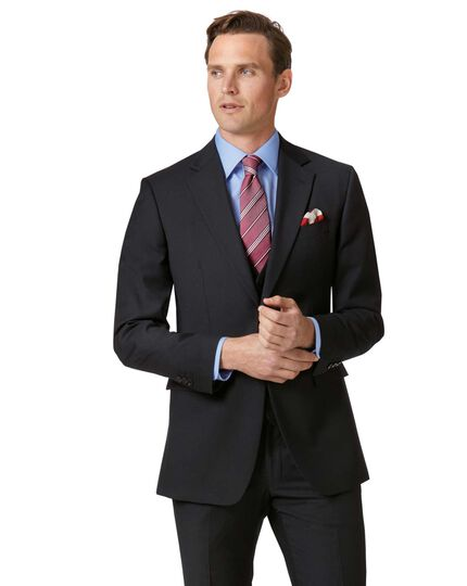 Slim Fit Businessanzug Sakko aus Twill in schwarz