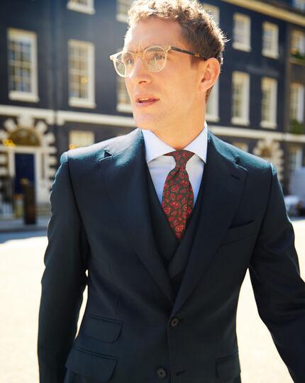 Dark green slim fit British hopsack luxury suit jacket