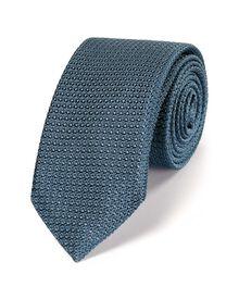 Blue silk luxury grenadine plain slim tie