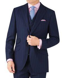 Navy stripe slim fit British serge luxury suit jacket