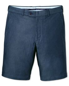 Blue slim fit dobby shorts