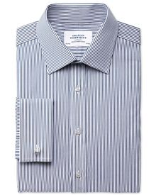 Extra slim fit raised stripe navy shirt