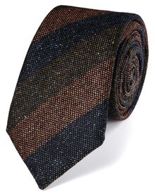 Dark blue silk mix printed Donegal stripe luxury tie