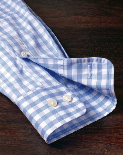 Extra slim fit non-iron poplin sky blue check shirt
