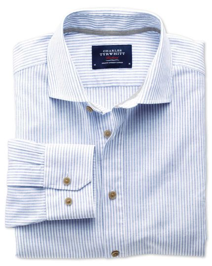 Slim fit spread collar popover mid blue stripe shirt