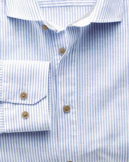 Slim fit spread collar popover mid blue stripe shirt