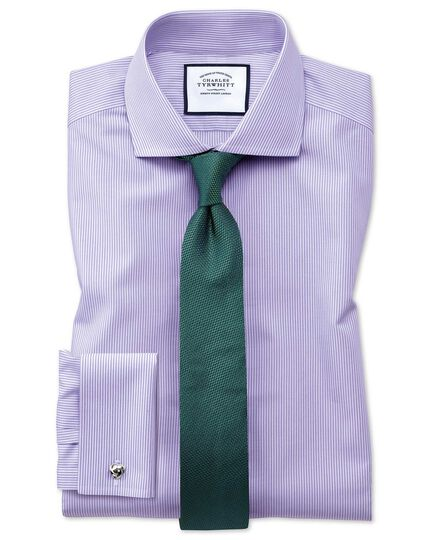 Extra slim fit spread collar non iron bengal stripe lilac shirt