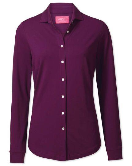 Purple semi fitted stretch jersey shirt
