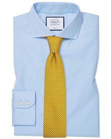Slim fit spread collar non-iron twill sky blue shirt