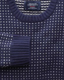 Navy birdseye crew neck sweater