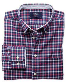 Extra Slim Fit Oxfordhemd in Blau und Rot mit Karos