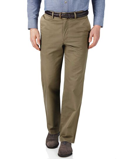 Beige classic fit flat front chinos