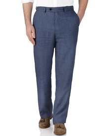 Blue classic fit linen pants