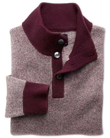 Wine jacquard button neck jumper