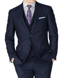 Navy stripe slim fit saxony business suit jacket