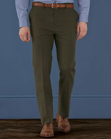 Khaki slim fit cotton flannel trousers