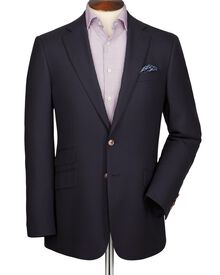 Navy classic fit textured wool blazer