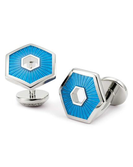 Sky enamel hexagon cuff links
