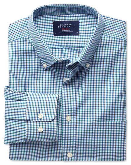 Slim fit non-iron poplin blue multi check shirt