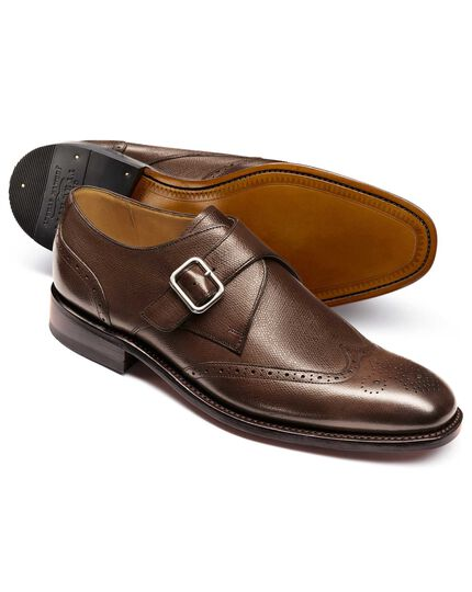 Brown Compton wing tip brogue monk shoes